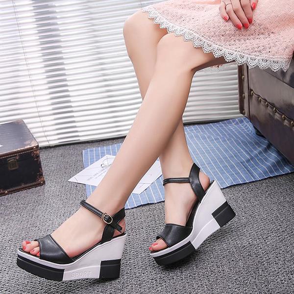 Contrast Thick Bottom Women Wear Buckle Sandals - Black