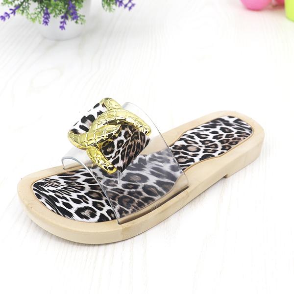Flat Transparent Soft Rubber Sole Female Sandals - Beige