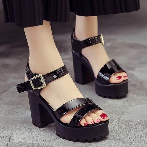 Cross Strapped Party Wear High Heel Shiny Sandals