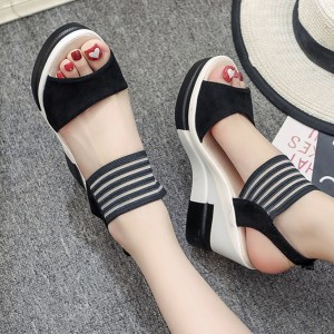 High Heels Heavy Bottom Lace Black Sandals