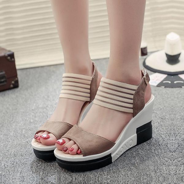 High Heels Heavy Bottom Lace Khaki Sandals