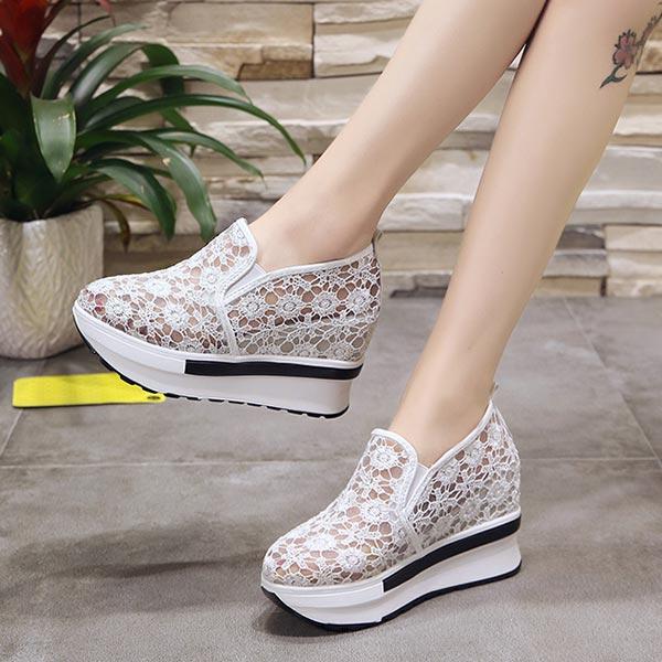 Floral Pattern Casual Wear Women Flats -  White