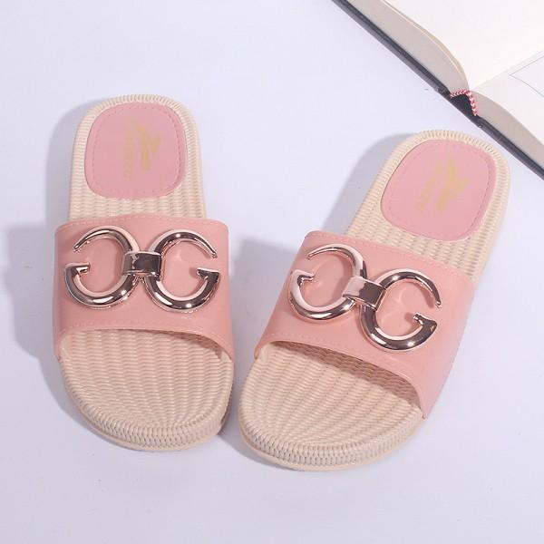 Flat Wear Soft Rubber Sole Female Slippers - Pink