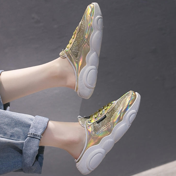 Holographic Sports Wear Slip On Open Sneakers - Golden