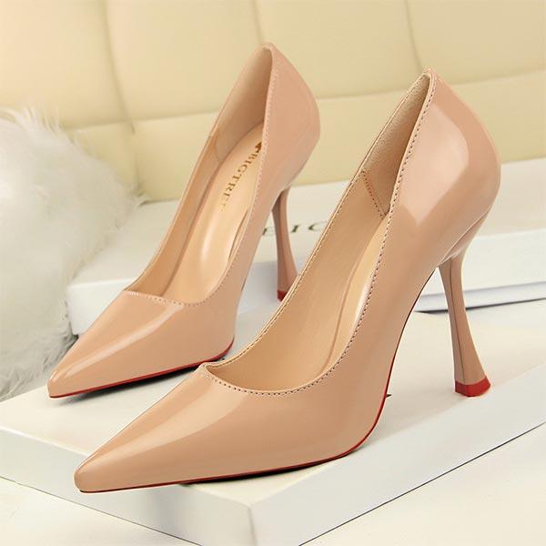 Pointed Toe Women Stiletto Etiquette High Heels - Khaki