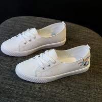 Printed Cartoon Flat Casual Sneakers - White