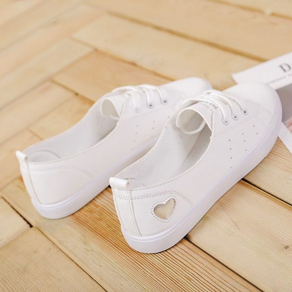 Flat Heart Engraved Casual Sneakers - Silver