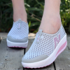 Heavy Bottomed Slip-On Women Mesh Sport Shoes Grey