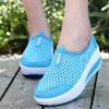 Heavy Bottomed Slip-On Women Mesh Sport Shoes Sky Blue