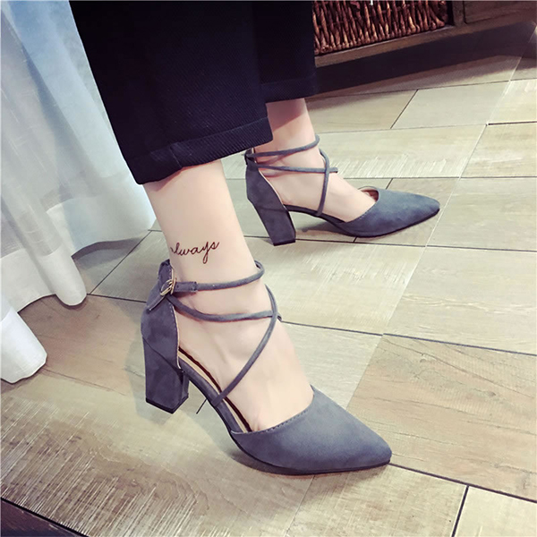 Square Heel Strappy Grey Formal Sandals