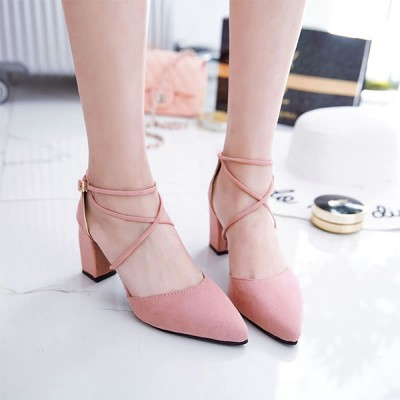 Square Heel Strappy Pink Formal Sandals