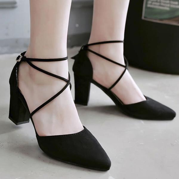 Pointed Cross String Medium Heel Sandals - Black