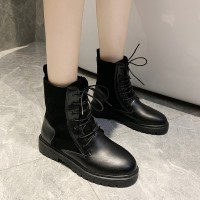 Lace Up Non Slippy Hard Bottom Pu Leather Boots - Black