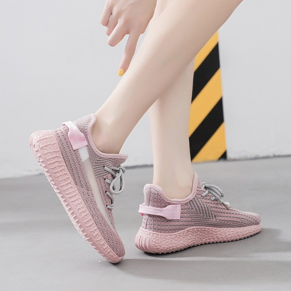 Breathable Flying Woven Straps Flat Women Sneakers - Pink