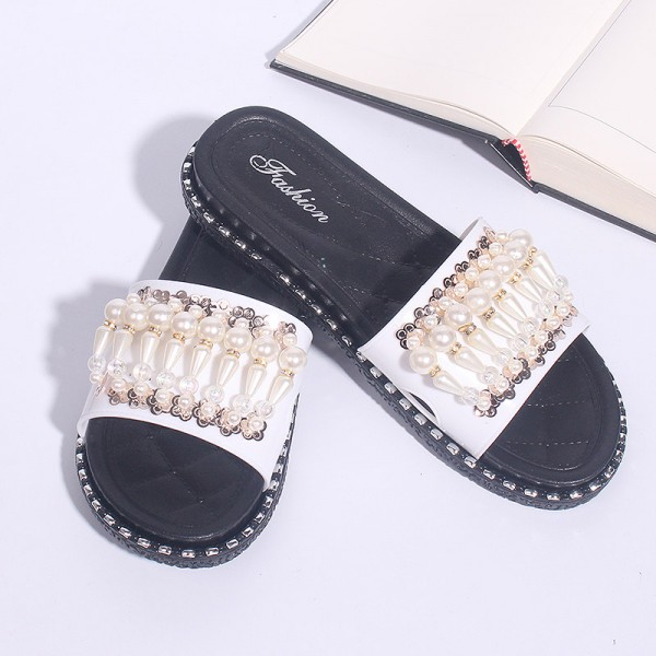 Flats Soft Rubber Female Sandals - Black