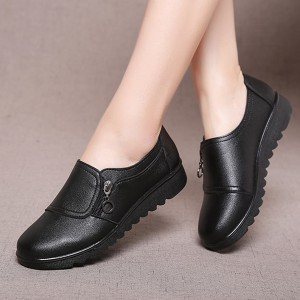 Zipper Synthetic Leather Formal Office Wear Shoes - Black
