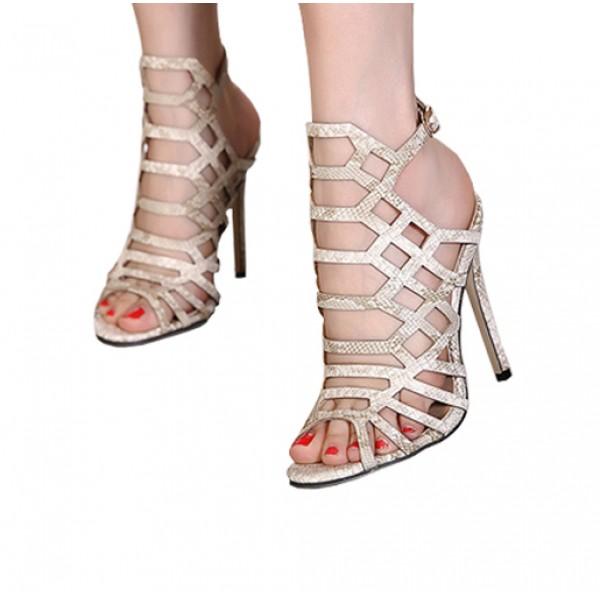 High Heels Summer Fish Mouth Hollow Jump Shoes Sandals Khaki