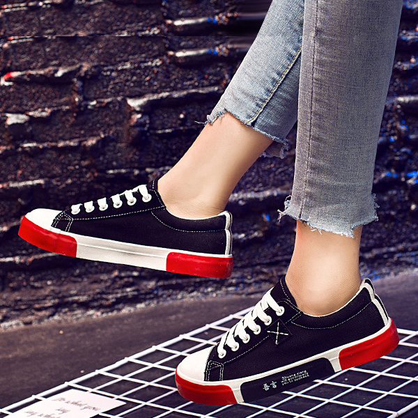 Multi Contrast Casual Flat Sneakers - Black