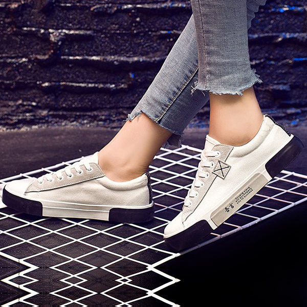 Multi Contrast Casual Flat Sneakers - White