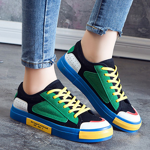 Duo Color Sports Flat Casual Sneakers - Black Green