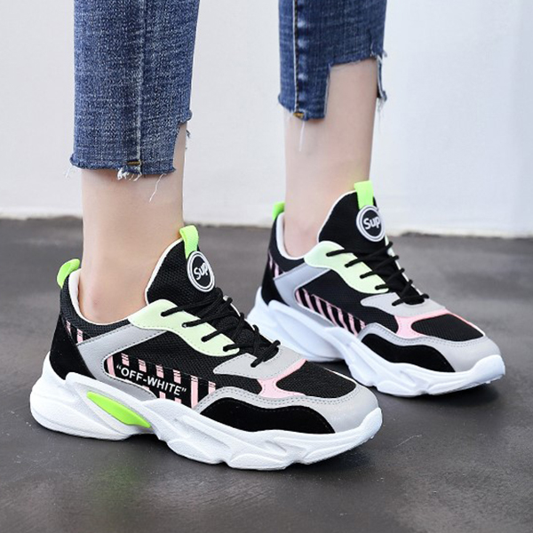 Lace-up summer breathable wild sports women Shoes - Green