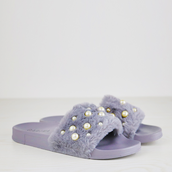 Pearl Decorated Flat Wear Soft Slippers