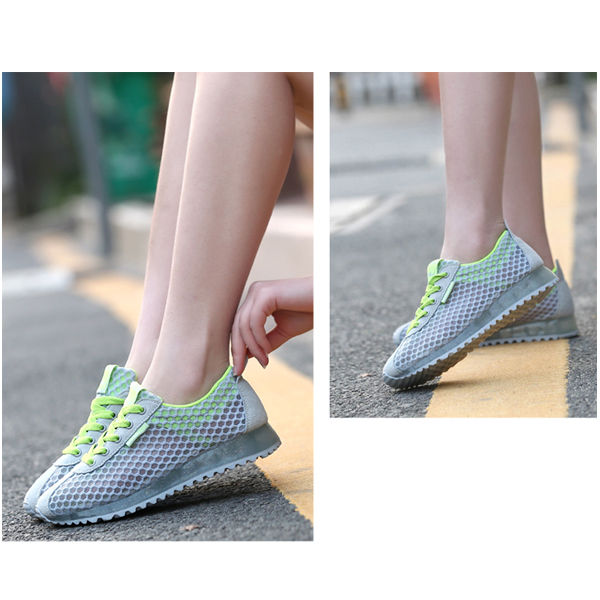 Breathable Net Yarn Sneakers Thick Bottom Sports Shoes Gray