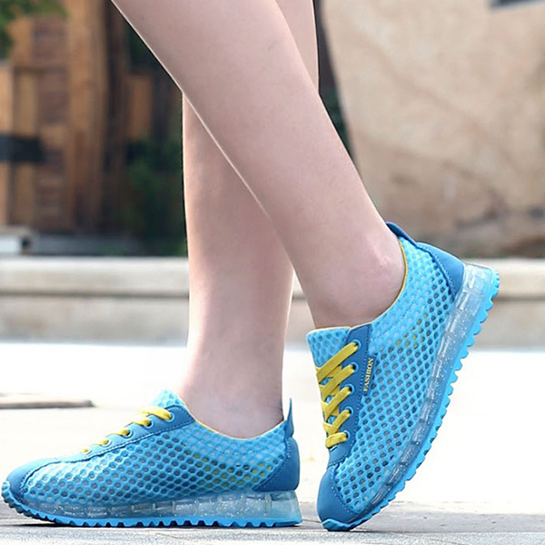 Breathable Net Yarn Sneakers Thick Bottom Sports Shoes Blue