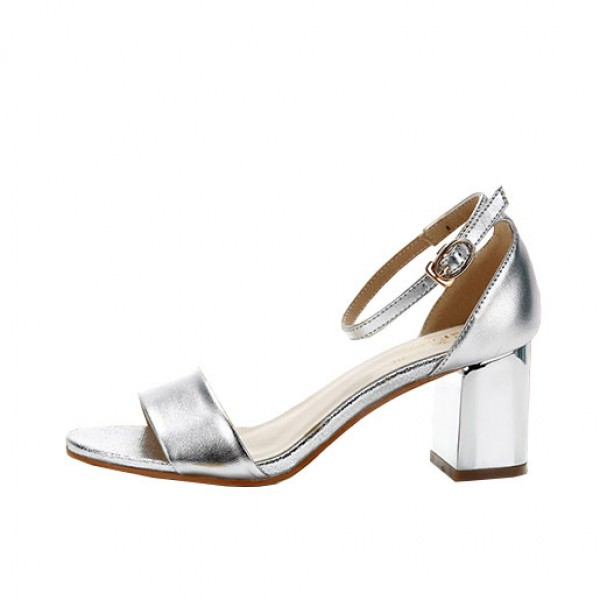 Female Sandals Fashion High-heeled Shoes Open Toe Sandals Silver