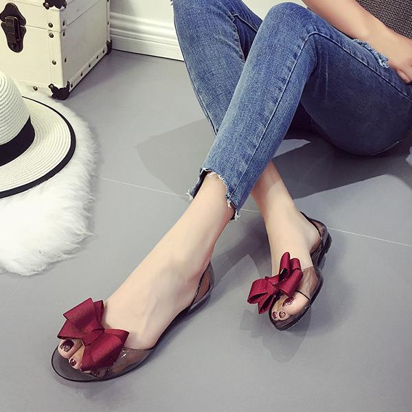 Ribbon Patch Transparent Summer Shoes - Red