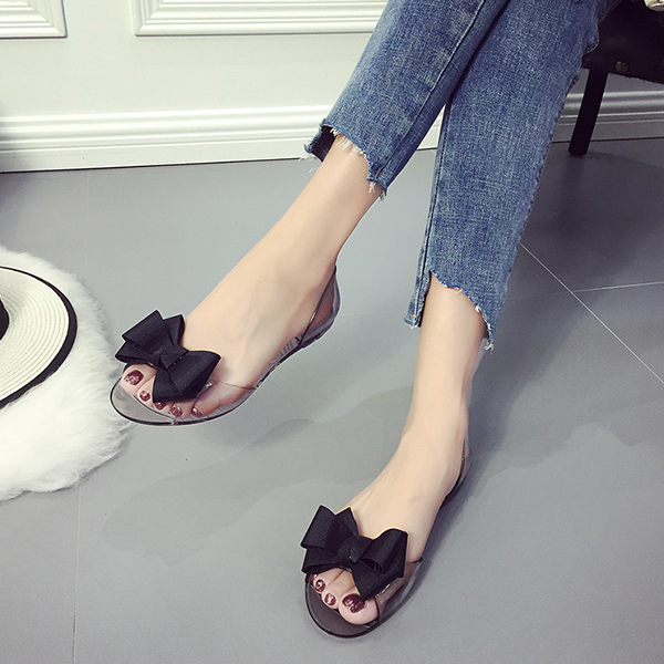Ribbon Patch Transparent Summer Shoes - Black