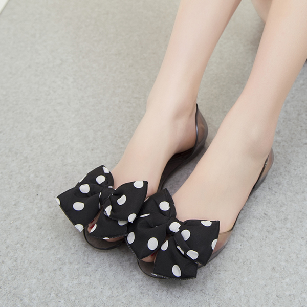Polka Dots Ribbon Transparent Jelly Shoes - Black