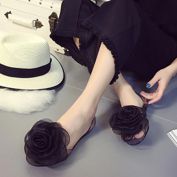 Rose Patch Transparent Casual Shoes - Black