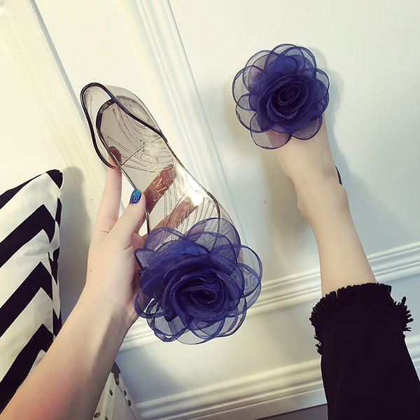 Rose Patch Transparent Casual Shoes - Blue