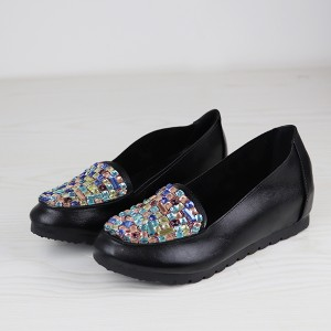 Comfortable Black Party Shoes With Rhinestone Beats