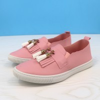Tassel Synthetic Leather Flat Wear Fashion Shoes - Pink