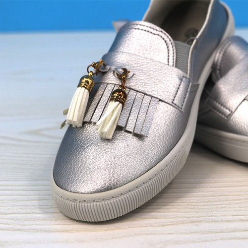 Tassel Synthetic Leather Flat Wear Fashion Shoes - Silver