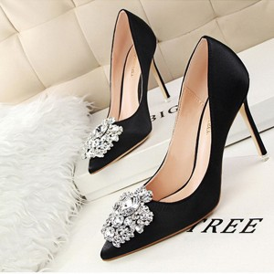 Rhinestones High Heel Shallow Mouth Wedding Shoes - Black