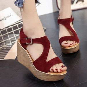 Thick Bottom Burgundy Casual Buckle Sandals