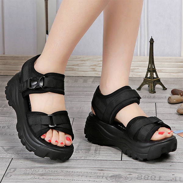 Duo Contrast Strappy Thick Bottom Sandals - Black