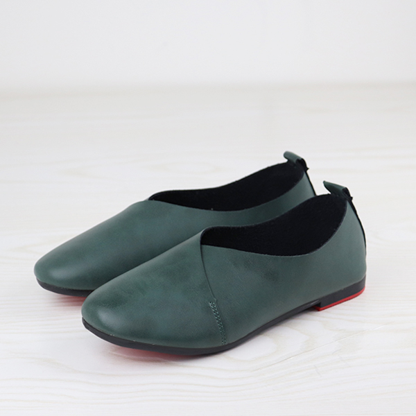 Wrapped PU Leather Flat Wear Formal Shoes - Green