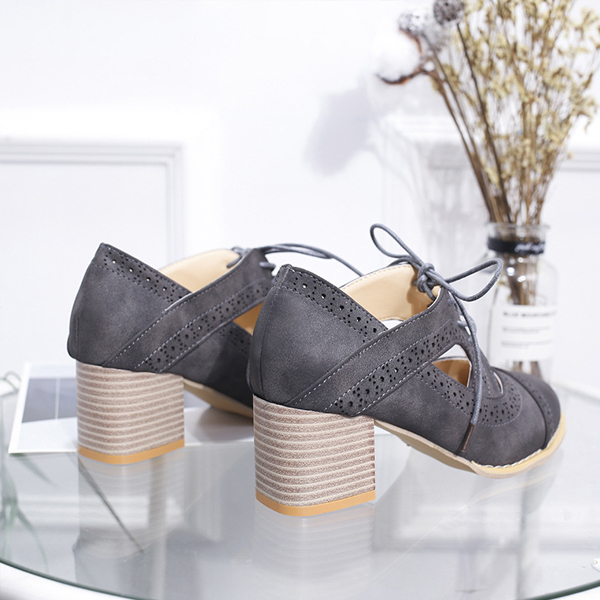 Hollow Suede Lace Up Thick Bottom Shoes - Grey