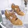 Hollow Suede Lace Up Thick Bottom Shoes - Brown