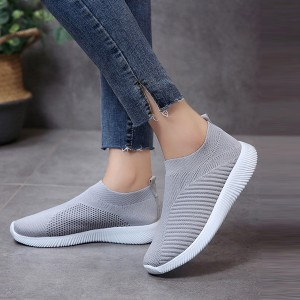 Canvas Mesh Breathable Cool Flat Sports Shoes - Grey