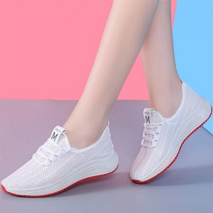 Rubber Sole Mesh Hollow Pattern Sneakers - White