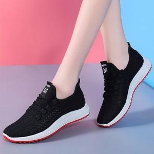 Rubber Sole Mesh Hollow Pattern Sneakers - Black