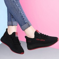 Contrast Mesh Canvas Breathable Sports Shoes - Red Sole