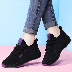 Contrast Black Mesh Canvas Breathable Sports Shoes -Black Purple