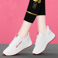 Contrast Mesh Canvas Breathable Sports Shoes - White