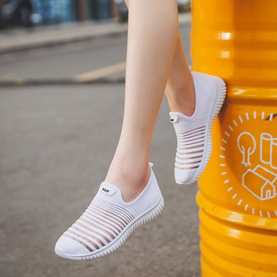 Striped Texture Slip Over Running Sports Sneakers  - White